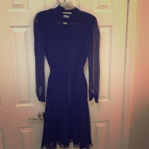 Calvin Klein black silk and cotton midi dress